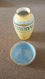Lovely Blue/Yellow vase & matching bowl
