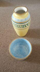 Lovely Blue/Yellow vase & matching bowl
