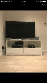 White gloss Tv Unit with glass