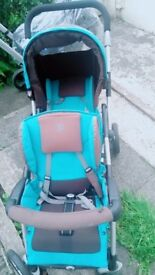 Grey and blue double pram