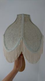 Beautiful pale blue and cream fringed rattan/cane vintage light shade ceiling - standard UK fitting