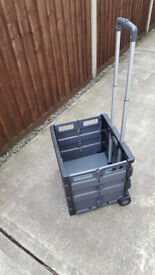 Folding crate with heavy duty wheels