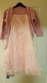 Elegant pink party dress and cardigan 7-8 yrs