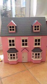 Girls Pink Wooden Dolls House