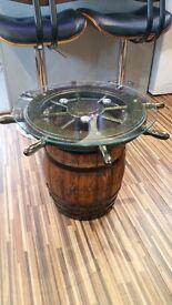 Small Nautical oak barrel coffee table
