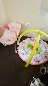 Baby girl bouncer and play mat