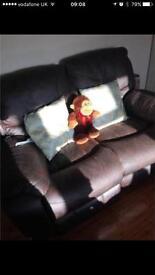 Three seater recliner leathier sofa