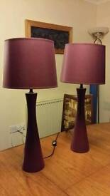 2 matching tall table / bedside lamps purple