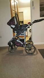 Baby pushchair Black/Pink 3in1