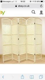 Cream Wicker Room Divider