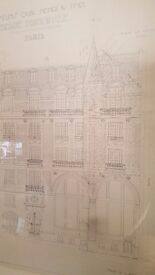Framed Paris architectural drawing professionally framed in silver frame shabby chic vintage art