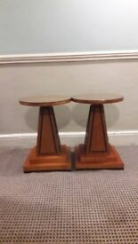 two glass topped side tables.52cm high,39cm diameter