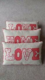 Nearly New Cushions - Vintage Style red LOVE & HOME Floral motif