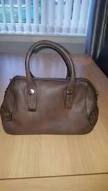 Brown faux leather good sized handbag