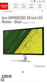 "Acer LED 4k 28"" monitor, 60hz, great condition."