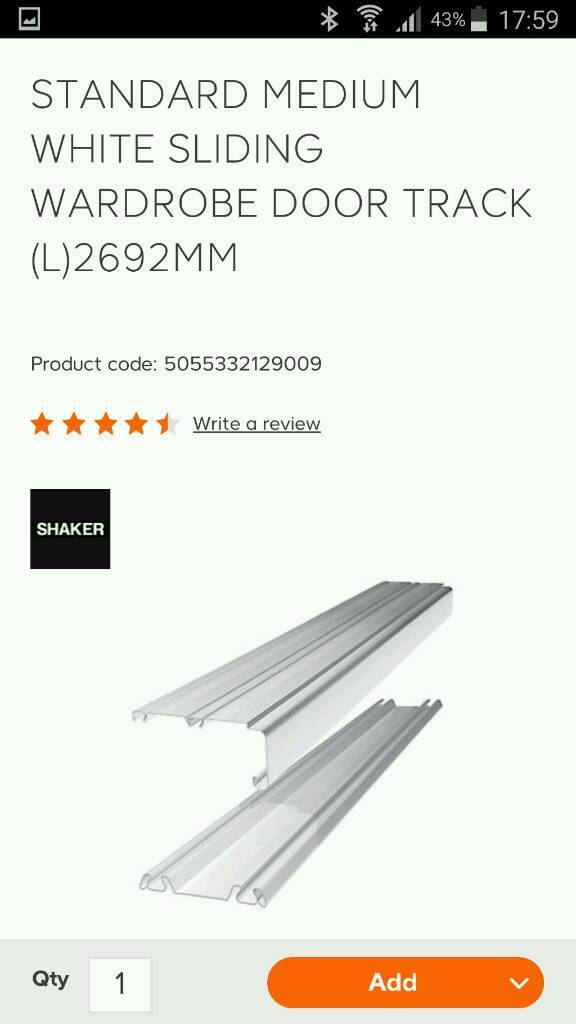 B & Q white sliding mirror wardrobe door tracks 2.7m long new | in B And Q Sliding Wardrobe Doors Track on