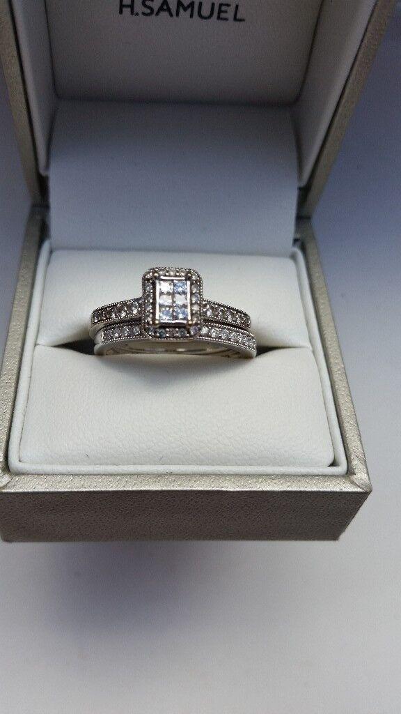 9ct White Gold 1/2ct Bridal Ring Set