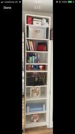 Very tall white shelving unit. X9 shelves. Display. Retail. Shop fittings. Bedroom. Etc