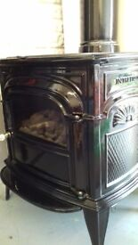 Stove type gas coal effect heater with real flames.
