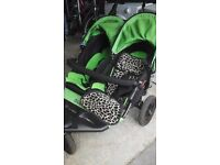 Immaculate 12ms old out and about double pushchair