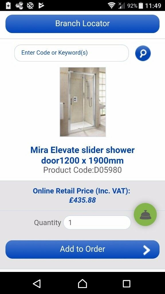 Mira elevate shower sreen 1200