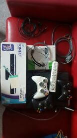 Xbox 360 wifi +2 kinect + 2 controllers + games + DVD