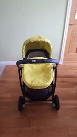 Graco pram set with carrycot and pushchair. Good condition. Lovely lime green colour.