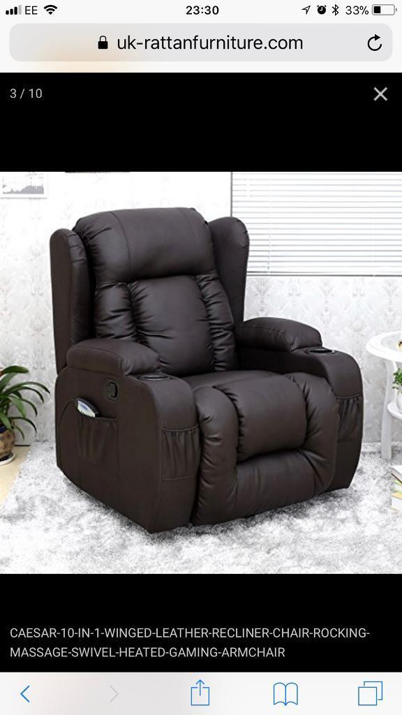 CAESAR 10 IN 1 WINGED LEATHER RECLINER CHAIR ROCKING MASSAGE SWIVEL HEATED GAMING ARMCHAIR   in The Shore, Edinburgh   Gumtree