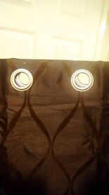 Chocolate faux silk pair of curtains with chrome eyelets