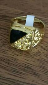 man's 14kt gold plated signet ring