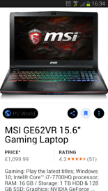 "Msi ge62vr gaming laptop 15.6"" 1tb brand new with reciept.paid £1100 sell for £1000"