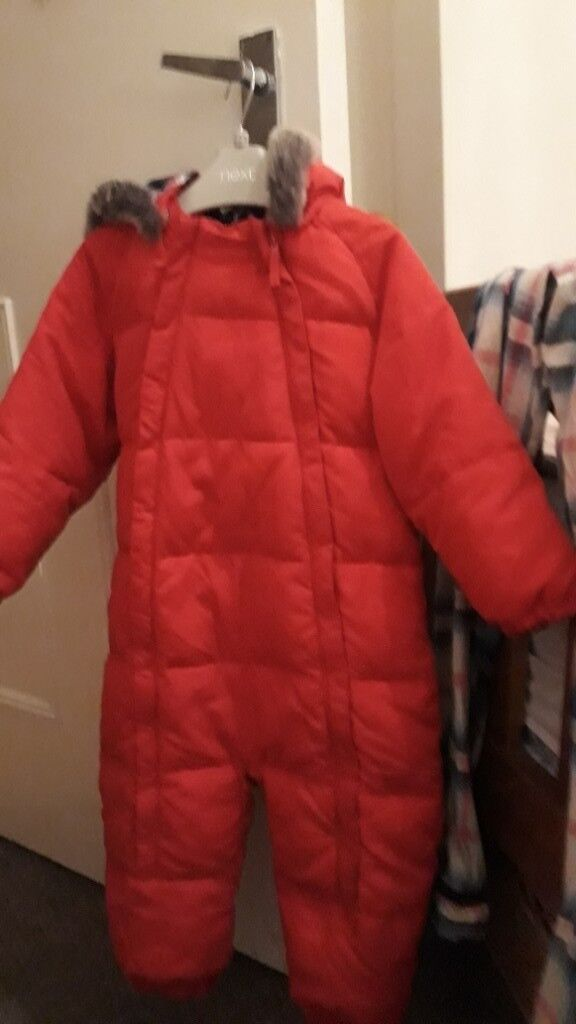 e9d133503 Unisex cosy John Lewis Red Snow Suit with tartan quilted lining and faux fur  hood Suit 18-24 months