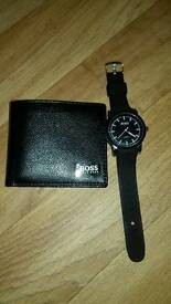 Hugo boss watch and leather wallet
