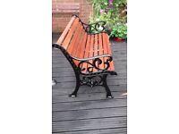 """Garden Bench...Cast Iron """"Fleur de Leys"""" Design."""