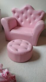 Childs princess pink chair and foot stall