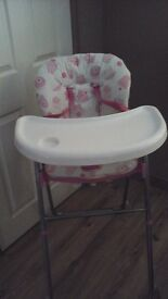 Feeding high chair in white and pink