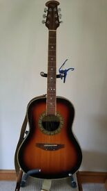 Tanglewood Odyssey TMO-7S Electro Acoustic Guitar with capo, stand and books
