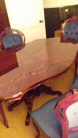 Italian-style dining table with 4 chairs and 2 carver chairs - £120