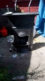 Victorian cast iron fire place restored original black size 28x40 compet with brush set
