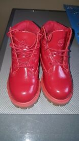 Red patent Timberland boots infant size 7