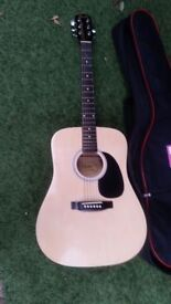 Fender Squier SA-105 Acoustic Guitar plus case and pick GOOD CONDITION