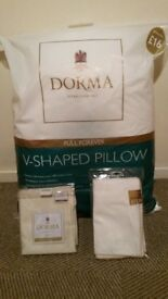 Dorma V Shaped Pillow with Pillow protector and Pillow Case - Unused.