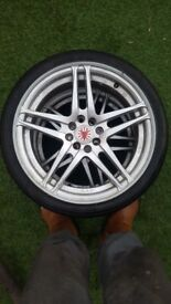 "2x 17"" alloy wheels 4x100 4x108 4 stud tyres as new"