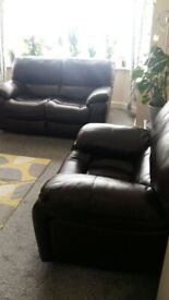 Harveys Brown Genuine Leather reclining sofa and chair