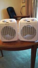 2 x mini fan heaters