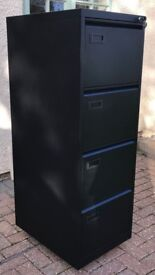 4 Drawer Lockable Filing Cabinet - Matt Black High Quality. Excellent condition, very clean.