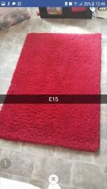 Red shaggy rug
