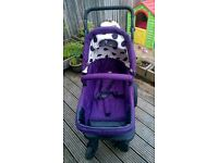 Obaby Purple Spotty pramette - good condition and an excellent pram / stroller