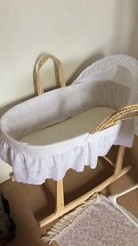 White Moses basket with rocking stand v.g.c no longer needed