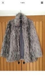 Dorothy Perkins 12 grey faux fur coat